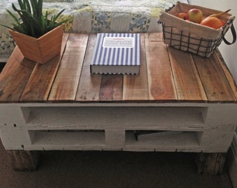 Double-Decker Pallet TV Stand/ Console Table in Farmhouse Style