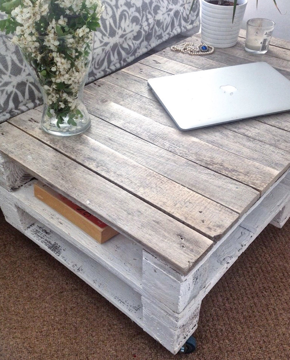 Diy Shabby Chic Coffee Table: Pallet Coffee Table ESMA In Farmhouse Style With Castor Wheels