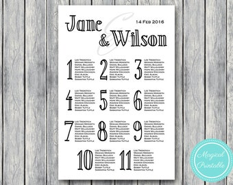 Stylish Printable Custom Wedding Seating Chart, Wedding Seating Poster, Wedding Seat Sign, Wedding Seating Board WD31 WC25
