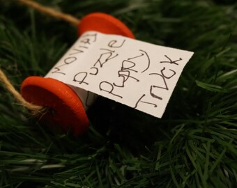 Wooden spool Christmas list ornament/ Christmas list ornament/ Chrismas ornament/ Kids christmas list ornament/ wish list ornament