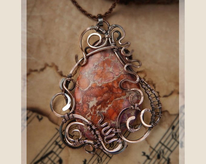 Copper wire Red variscite pendant Birthstone Fantasy style Ecologically clean jewelry Gift for her Ooak Natural Stone