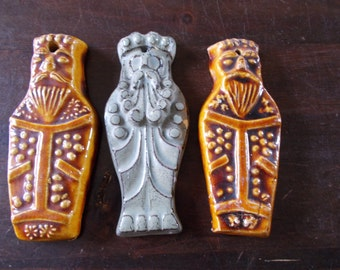 Set of three old ceramic dolls / males