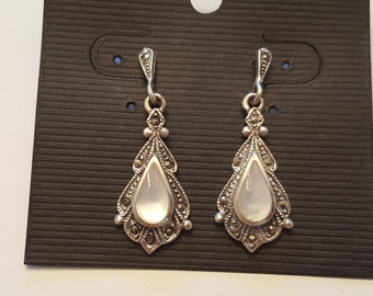 Sterling Silver Mother of Pearl Marcasite Dangle Earrings Vintage Victorian