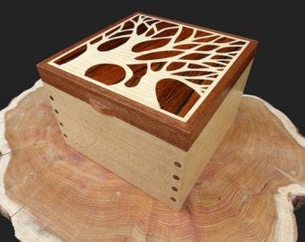 Wooden Jewellery Box Tree Silhouette