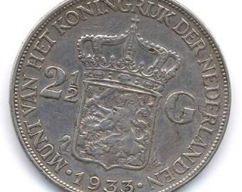 Netherlands 1933 2 1/2 Guilder Silver