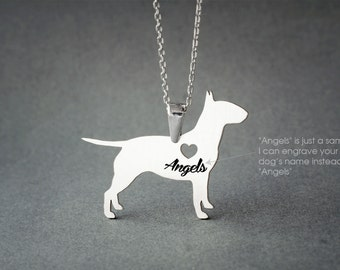 BULL TERRIER NAME Necklace - Bull Terrier Name Necklace - Personalised Necklace - Dog Jewelry - Dog breed Necklace - Dog Necklaces