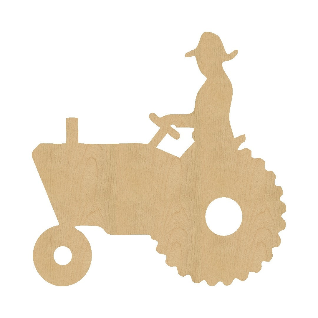 Man on tractor shape laser cut unfinished wood shapes craft for Wood circles for crafts