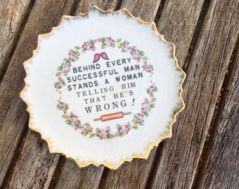 Vintage Decorative Floral Plate, Funny Wall Decor