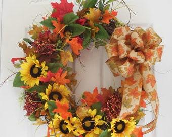 Sassy Sunflowers Fall Grapevine Wreath