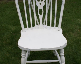 Free UK Delivery - Vintage wheel back hand painted farmhouse chair. White or custom colours available