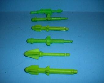 Vintage Hasbro GI Joe ARAH  6 Green Missiles/Rockets For 3 3/4 Action Figure  GI Joe Vehicles