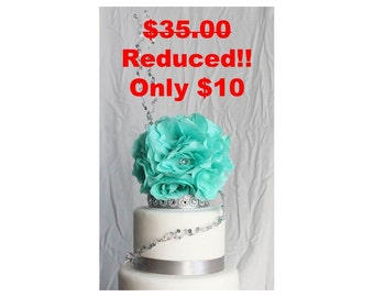 Sea-foam green and silver floral cake topper, Wedding Decor, Sale, Reduced Price, OverTheTopCakeTopper