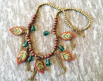 TEXTILE NECKLACE, mexican jewelry