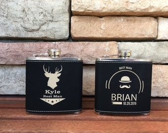 4 Personalized Leather Flasks, Custom Engraved Groomsmen Gift, Wedding Party Favors, Steel Flask, 4 Flasks