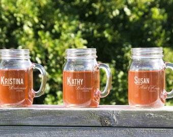 Engraved Mason Jar, 7 Personalized Beer Mug, Glasses with Handle, Wedding Party Gifts, Be My Bridesmaid, Bridesmaid Gift, Bridal Party Toast