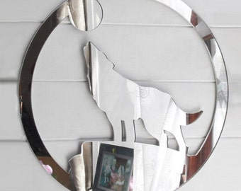 Howling Wolf in Circle Acrylic Mirror