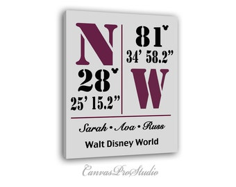 Disney longitude etsy disney world canvas personalized latitude and longitude coordinates for disney world housewarming gift family sciox Image collections