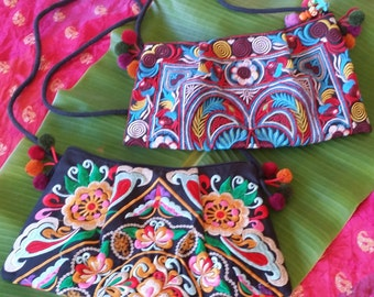 Beautiful Thailand Hmong Hill Tribe Hand Embroidered Clutch Purse