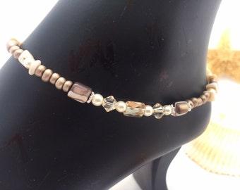 Ankle Bracelet Anklet Brass Brown Mother of Pearl Sworovski Crystal Anklet  (Ank-17)