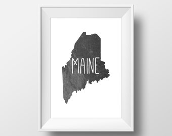 Maine State Black Chalkboard Printable Art, Maine State Print, Maine Art, Modern Art,