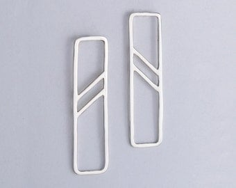 Sterling Silver Earrings with Angled Stripes