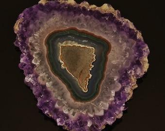 """Amethyst Slice Stalactite from Uruguay, 3.41"""" x 2.75"""" x 0.27"""", 60.9g"""