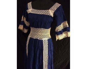 Vintage Blue Crochet Lace Dress