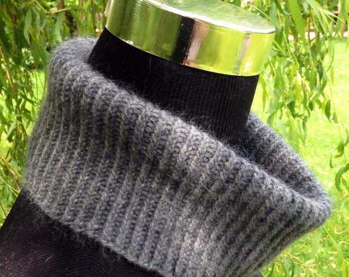 Ladies spring pure cashmere mini snood / collar in dark grey by Willow Luxury