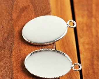 10pcs 13mm × 18mm High Quality Bright Silver Plated Oval Bezel Cabochon Pendant Settings Necklace Pendants Cabochons Settings DIY Jewelry