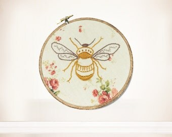 Hand Embroidered Bumble Bee Wall Hanging