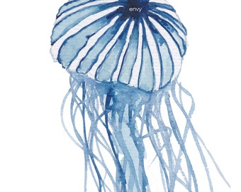 Jelly Fish, art print, limited edition,  beach lover gift, beach decor, beach house decor, beach art, sea life, coastal art, bathroom art