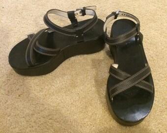 Vintage PRADA Platform Sandals - Black with contrast stitching! Sz 36.5/6.5