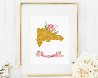 Dominican Republic, Dominican map, Dominican print, Gold map, floral print, watercolor flowers, watercolor print, nursery, floral watercolor