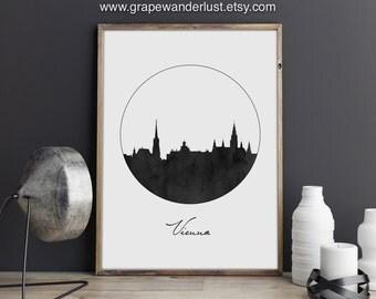 Vienna art, Vienna poster, Vienna skyline, Austria art, Austria map, Austria poster, City poster, Scandinavian art, City Skyline, office art
