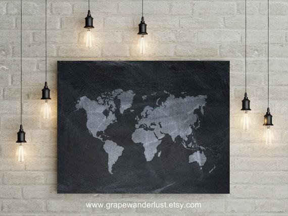 World map chalkboard world map travel map gray world map world map chalkboard world map travel map gray world map world map art black and white map minimalist world map black and white decor gumiabroncs Gallery