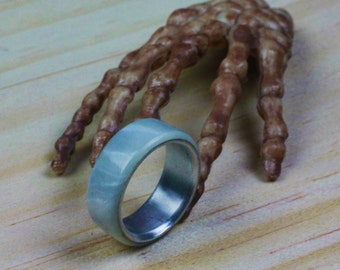 Handmade Ring With Stainless Steel Insert (Pearl White)