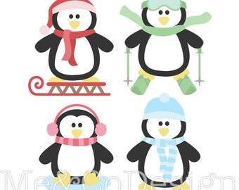 Penguin Fun Clipart, Fun Pretty Clipart, Winter, Snow Instant Download, Personal and Commercial Use Clipart, Digital Clip Art
