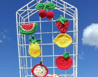 Strip clip or PIN decorated with a hook for a look fruit vitamin pineapple lemon Apple Watermelon cherry Strawberry