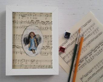 Original art print, guardian angel, baptism gift, guardian angel for musicians, baptism art,guardian angel print, watercolor, music sheet