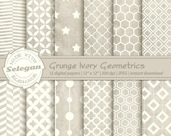 "grunge art "" Grunge Ivory Geometrics "" digital scrapbook printable pattern grunge background pattern instant download"