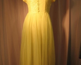 On Sale 1950's Lemon Yellow Floor Length Prom Dress large size