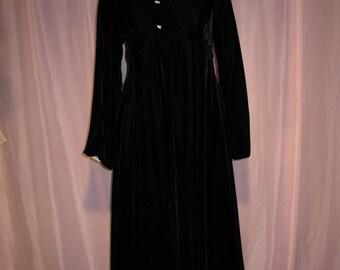 On Sale Ladies Black Velvet Empire Waist Evening Coat