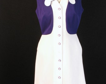 1960s Sleeveless Go Go Mini Dress Purple and White