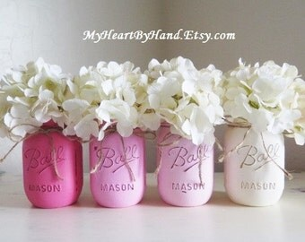 Pink Ombre Distressed Painted Mason Jars, Wedding and Baby Shower Centerpieces, Nursery Decor, Girls Birthday Party, Baptism, Flower Vases
