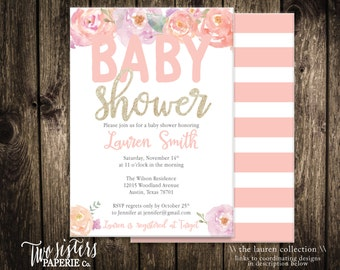 Floral Baby Shower Invitation - The LAUREN Collection - Watercolor Floral Baby Shower - It's a Girl Invitation - Printable Invitation