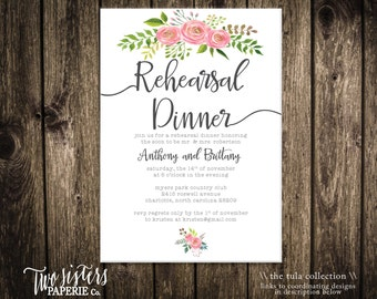 Printable Rehearsal Dinner Invitation - Floral Rehearsal Dinner - The Tula Collection