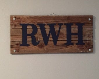 Reclaimed wood sign with name or initials