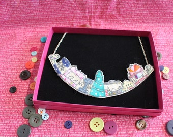 Free motion machine embroidered and appliqué Statement pendant style Fairground necklace from Lottie's Signature Range.