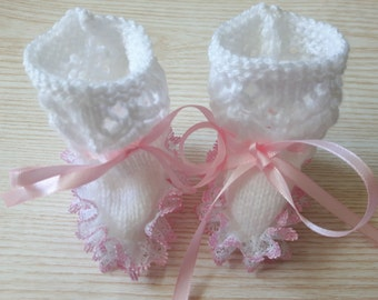 Baby girl lacy white and pink bootees, Handknitted lace bootees, Newborn hand knitted,Reborn hand knitted, Knitted bootees, Baby shower gift