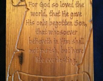 John 3:16 For God So Loved The World Plaque